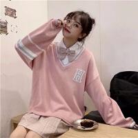 毛衣女秋冬学生韩版宽松百搭字母套头卷边针织衫配衬衣两件套 M 建议80/95斤