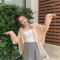 夏季糖果绿色薄款防晒衬衫设计感小众心机上衣洋气韩版女长袖衬衣 均码