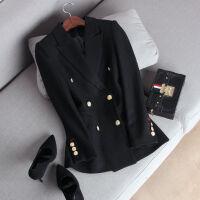 垫肩女士 闪耀亮丝修身显瘦中长款驳领双排扣垫肩长袖羊毛呢西装外套女 黑色