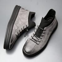 宜驰 EGCHI 休闲运动皮鞋子男士板鞋户外潮流高帮学生舒适耐磨鞋子 KCY88029