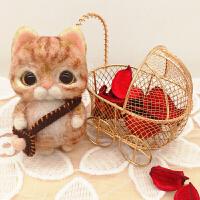 羊毛毡戳戳乐打发时间的手工抖音创意猫咪材料包包diy制作DIY公仔玩偶