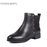 【3折叠加100元券】Fondberyl/菲伯丽尔2018冬季新款切尔西靴女靴FB84116001