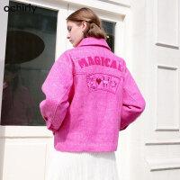 [9月12日3件7折到手价:397元]欧时力冬装贴布绣宽松羊毛双面呢外套1GZ4348930