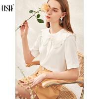 【2.5折到手价:118】OSA欧莎白色衬衫女设计感小众夏季2020年新款时尚百搭娃娃领上衣