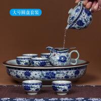 景德镇青花瓷盖碗茶具套装家用泡茶整套陶瓷功夫茶具带圆茶盘茶海 9件