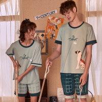 情侣睡衣女夏季薄款短袖短裤可爱韩版宽松大码男款家居服夏天 A66351男款 XXX