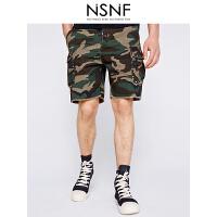 NSNF风格化迷彩男士宽松短裤 休闲裤 短裤男2017新款 潮牌男裤