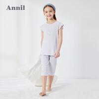 【3件3折价:54.9】安奈儿童装女童家居服套装夏季2020新款美人鱼莫代尔夏季睡衣套装
