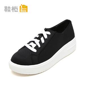 Daphne/达芙妮旗下鞋柜 简约春秋系带单鞋女鞋休闲厚底松糕鞋