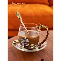 �_比�_丹�m��彩水杯家用�W�t水杯ins ��意玻璃杯女生花茶杯三件套