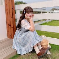 洛丽塔Lolita夏季日系甜美小清新格子吊带连衣裙子内搭上衣套装女 内搭 白色(单件) 均码