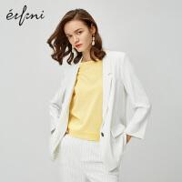 伊芙丽西装外套女2020新款韩版法式小外套英伦风白色条纹女士西服