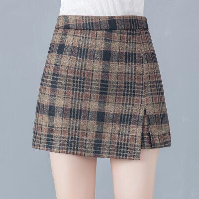 格子短裤女冬2019新款高腰显瘦百搭外穿毛呢裙裤冬季加厚a字靴裤 格子