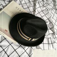 韩版毛呢帽子女士复古黑色小礼帽爵士帽男秋冬英伦毡帽百搭遮阳帽 (麻料) 可调节毛呢帽(54-58cm)