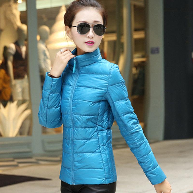 2019秋冬大码轻薄羽绒服女短款立领韩版女士修身薄款女装外套