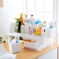 卫生间置物架桌面化妆品收纳架浴室洗漱用品洗手台面抽屉式收纳盒 层乳白色层架带挂篮