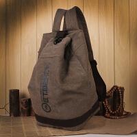 双肩包男士时尚韩版学生书包帆布水桶包休闲旅行背包大容量包 咖啡色