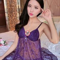 性感吊带睡裙女秋夏蕾丝诱惑睡衣带胸垫大码露背家居服短裙 LZ1133紫色 160(M)