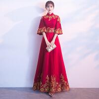 2018新款春季敬酒服新娘红色高贵中式旗袍长款结婚晚礼服裙女回门