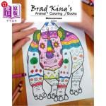 【中商海外直订】Brad King's Animal Coloring Book: Rhinoceroses