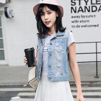 2018春夏季新款韩版牛仔马甲女薄款坎肩马夹休闲时尚破洞短外套潮 浅蓝色