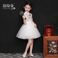 小女孩薄款唐装洋气公主裙夏季儿童旗袍复古女童古筝演出服