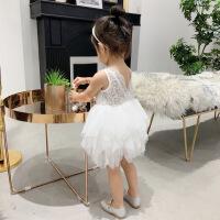 曲奇家婴童装 夏季女童白色网纱蕾丝背心公主连衣裙送内裤1-2-5岁