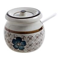 釉下彩陶瓷日式调料罐厨房带勺调料瓶带盖盐罐调味盒调味罐