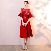 敬酒服新娘2018新款红色夏季中长款中袖修身显瘦回门结婚晚礼服女 酒红色