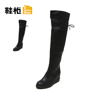 Daphne/达芙妮旗下鞋柜 冬款坡跟圆头系带过膝长靴内增高女靴