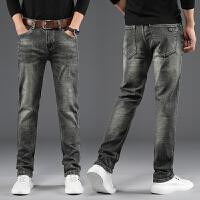 秋季复古牛仔裤男士直筒青年怀旧水洗宽松休闲弹力烟灰色修身长裤