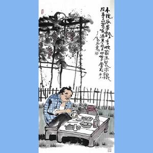 """国内""""文与画""""俱佳的艺术家刘子玉(小院瓜果飘香)34"""