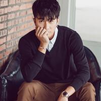 秋冬假两件衬衫领毛衣男士韩版修身线衣青少年带领纯色V领针织衫