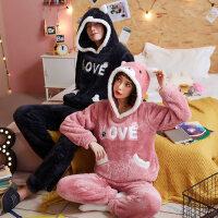 情侣珊瑚绒睡衣女秋冬季韩版加厚加绒可爱甜美男家居服套装