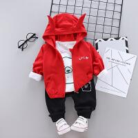宝宝春装童装卫衣三件套春秋新款婴幼儿小孩衣服0一1-3岁男童套装 红色 熊角三件套