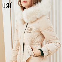 【过年3折价:699.3】欧莎白鸭绒毛领羽绒服女中长款2019新款冬季连帽加绒加厚洋气外套
