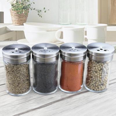 旋转式玻璃调味瓶密封瓶粉状撒料瓶罐出口可调不锈钢盖厨房用品