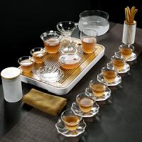 云雾磨砂玻璃功夫茶具套装茶壶盖碗品茗茶杯茶盘家用