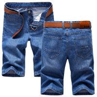 牛仔短裤 男夏季五分裤休闲中裤薄款牛仔裤男士直筒马裤七分裤子 1119浅蓝色 28