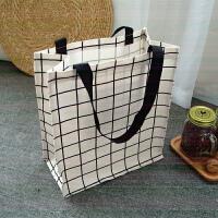 大号帆布防水饭盒袋便当包A4美术包补课包手提袋学生补习袋E