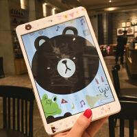 新款2018iPad卡通�N膜air2mini3�O果4迷你1前膜�化彩膜pro9.7 pro 9.7 小熊