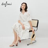 伊芙丽连衣裙2020年新款夏季白色森系v领夏天法式可盐可甜裙子女