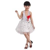 六一儿童演出服女蓬蓬裙舞蹈服幼儿园表演服少儿公主裙拉丁裙亮片 白色 镭射白色 100(适合身高90-100)