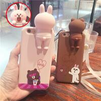 韩国苹果6s手机壳卡通立体兔趴趴熊iphone6s plus情侣硅胶保护套