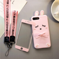 个性苹果x手机壳少女iphone7plus硅胶软壳8P全包边6s保护套可爱框 7Plus/8Plus5.5寸短耳朵兔套