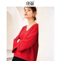 【2件3折价:132.3】OSA欧莎2019春装网红V领长袖宽松慵懒风红色毛衣针织衫女