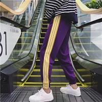 男士裤子韩版潮运动裤男休闲裤小脚修身哈伦裤 的裤子 紫色三杆 常规款