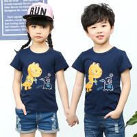 儿童短袖T恤男童女童打底衫半袖中大童装宝宝小孩夏装上衣T恤 深蓝色 恐龙
