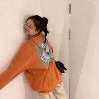 秋季ins卫衣女学生韩版宽松薄款春秋长袖上衣服女装冬季外套潮 S 适合40-50kg