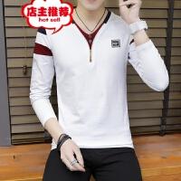 男士长袖T恤春秋装新款V领全面修身时尚打底青少年男装T恤上衣潮 白色 we8304